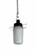 Industrie lamp melk wit glas