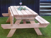 Picknicktafel Belinda XL naturel opklapbank